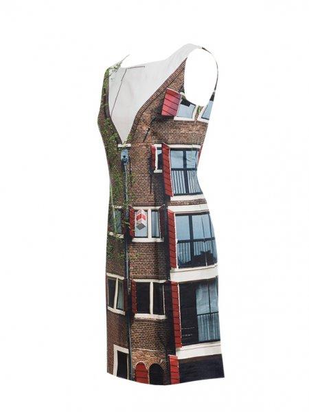 Designer Fotoprint Kleid mit Motiv Haus in Amsterdam