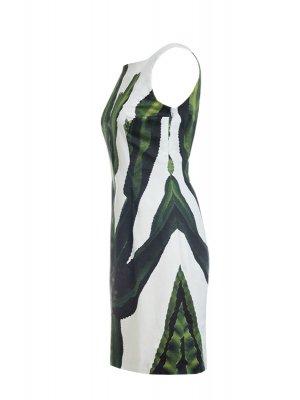 Designer Fotoprint Kleid mit einem grünen Kaktus