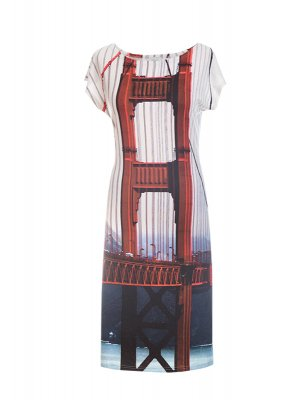Designer Fotoprint Kleid mit Motiv der Golden Gate Bridge