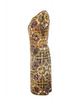 Designer Fotoprint Kleid mit bunten Kacheln