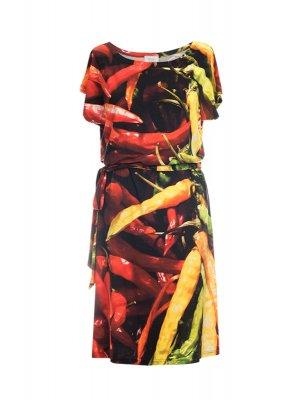 Designer Fotoprint Kleid mit bunten Chillis