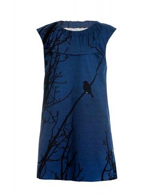 Designer Fotoprint Kleid Abendstimmung Baumzweige und Vogel