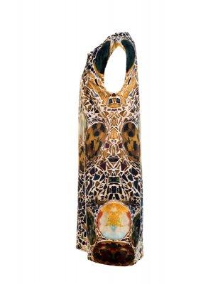 Designer Fotoprint Kleid mit Gaudi Kachelwand, Casa Batllo