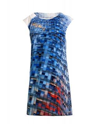 Designer Fotoprint Kleid mit Torre Agbar Motiv, Barcelona