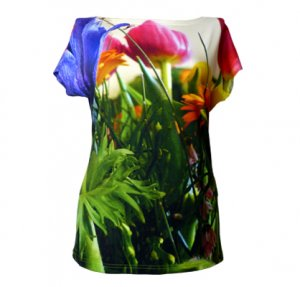 Kurzarm Shirt mit Fotodruck eines bunten Blumenstrausses, fabrari