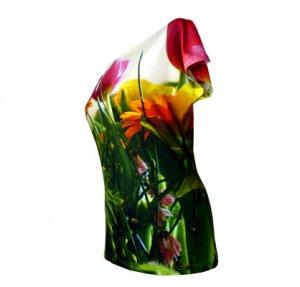 Shirt mit buntem Blumenstrauss- Motiv, fabrari