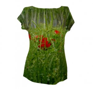 Motiv einer Mohnblumenwiese auf einem Shirt, fabrari