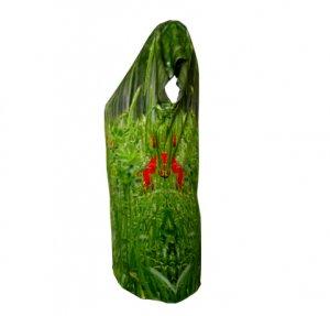 Motiv einer Mohnblumenwiese auf einem Shirt von der Seite, fabrari