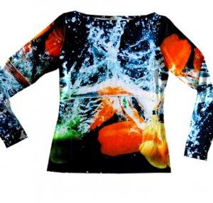 Shirt Paprika fabrari - langarm, Fotomotiv Paprika, die ins Wasser fallen