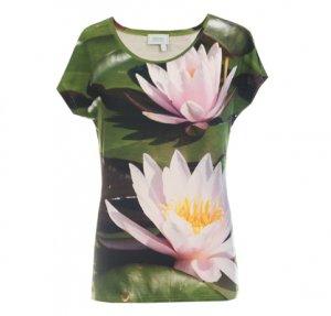 Designer Fotoprint Shirt mit rosa Seerose
