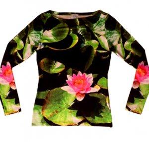 Fotoprint Langarm-Shirt mit Seerosen