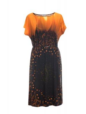 Designer Fotoprint Kleid mit Motiv einer Sonnenblume