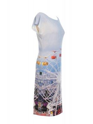 Designer Fotoprint Kleid mit Motiv Riesenrad am Tibidabo