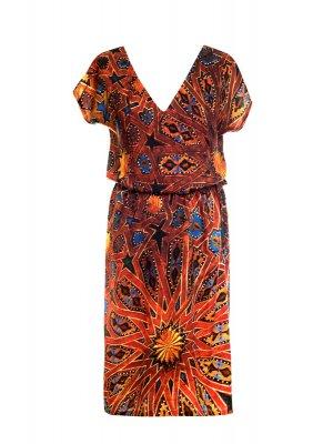 Designer Fotoprint Kleid mit Motiv Deckenbemalung La Bahia Palast Marrakesch