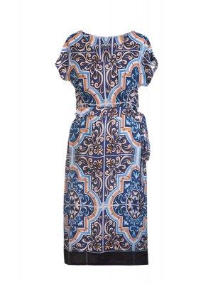 Designer Fotoprint Kleid von blau-weisser Kachelwand
