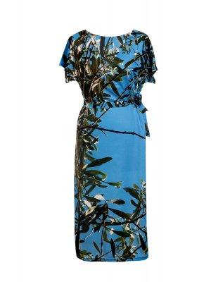 Designer Fotoprint Kleid mit Motiv Olivenbaumzweigen