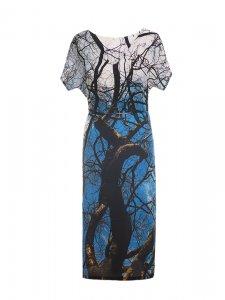 Designer Fotoprint Viskosekleid mit Baumästen und blauem Himmel