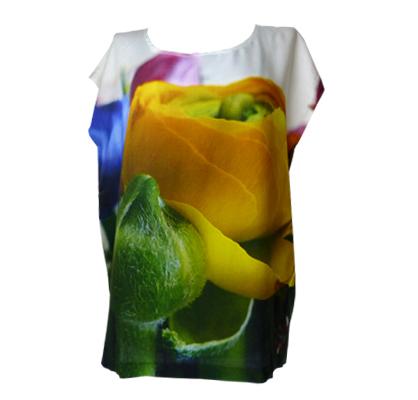Bunter Blumenstrauss auf Viskose Shirt, fabrari