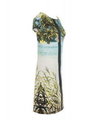 Designer Fotoprint Viskose-Jersey Kleid mit Weissensee-Motiv
