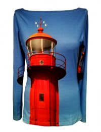 Fotomotiv roter Leuchtturm, Langarmshirt fabrari