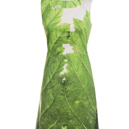 Designer Etuikleid bedruckt mit einem grossen grünen Blatt