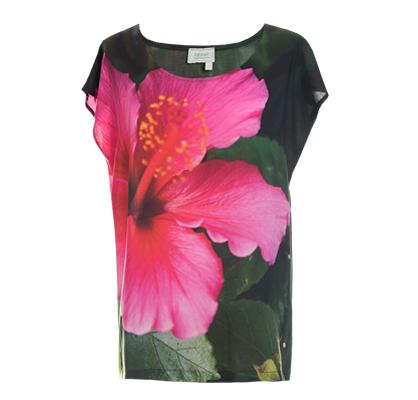 Designer Fotoprint Shirt mit pinker Hibiskus-Blume
