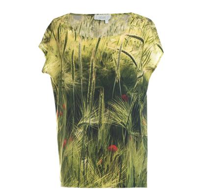 Designer Fotoprint Shirt mit Mohnblumen und Ähre